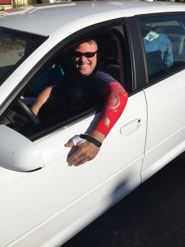 Mark rolling out to Aptos Ca. with Red Dragon Arm sleeve